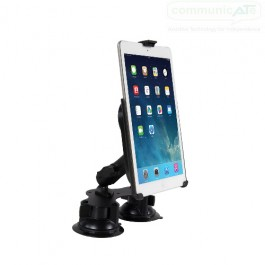 "Double Table Top Suction Mount with an iPad held in place (iPad not included, 9.7"" iPad shown here)"