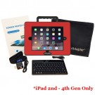 iAdapter 6 for iPad 2, 3 or 4 Bundle showing the Mini Bluetooth Keyboard, Skin and Carry Bag Satchel which are included (your choice of skin colour)